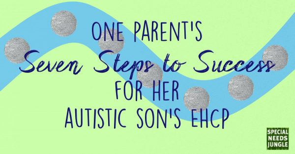 stepping stones illustration with word parent's Seven Steps Success for her autistic son's EHCP