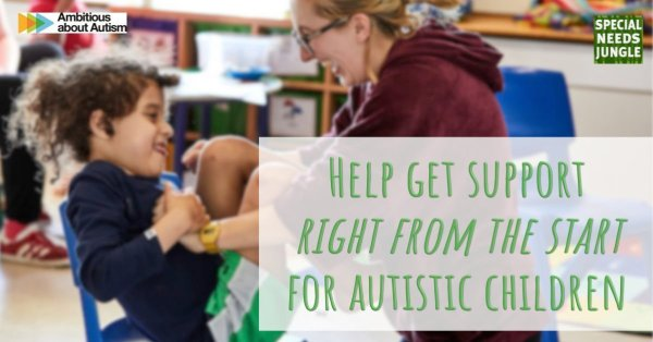 "Image of teacher with autistic child with words ""help get support right from the start for autistic children"""