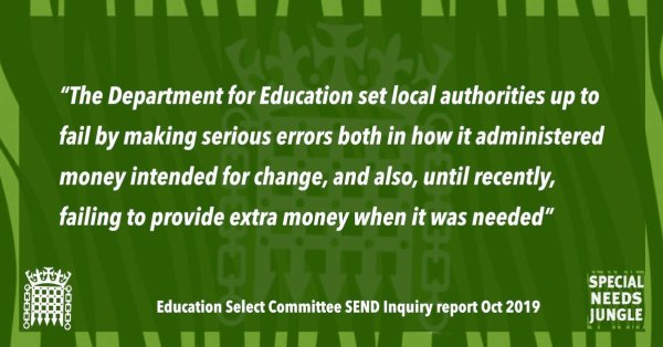 """""""The Department for Education set local authorities up to fail by making serious errors both in how it administered money intended for change, and also, until recently, failing to provide extra money when it was needed"""""""