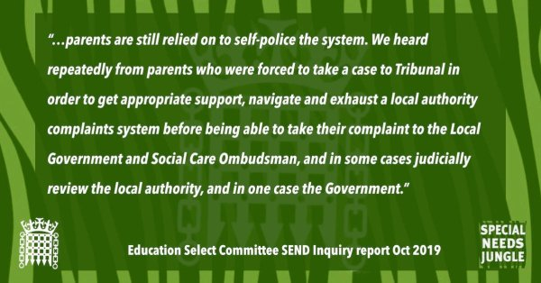 """""""…parents are still relied on to self-police the system. We heard repeatedly from parents who were forced to take a case to Tribunal in order to get appropriate support, navigate and exhaust a local authority complaints system before being able to take their complaint to the Local Government and Social Care Ombudsman, and in some cases judicially review the local authority, and in one case the Government."""" [para 80]"""