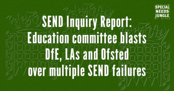 SEND Inquiry Report Education committee blasts DfE, LAs Ofsted multiple SEND failures