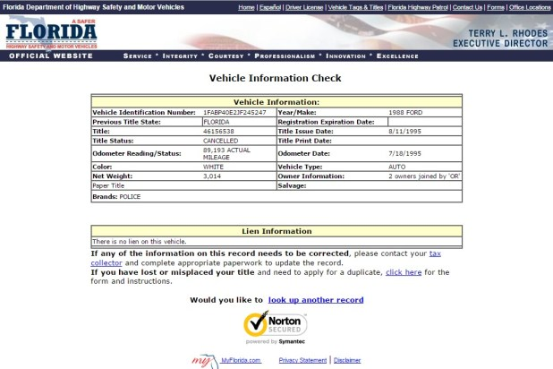 dept of motor vehicles florida registration