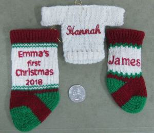 "4"", 5"" stocking ornaments and a sweater ornament"