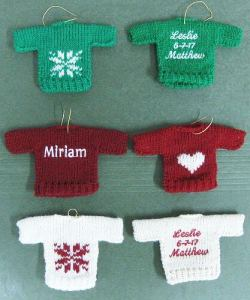 6 wool knit sweater ornaments with personalization