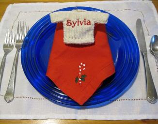 personalized Sweater ornament as a place marker
