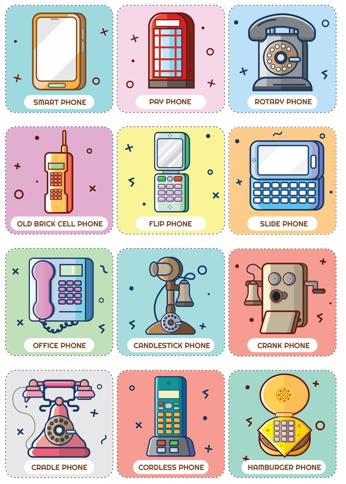 Phone Themed Match Pairs Memory Game