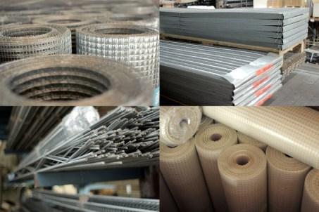 armatures métalliques sous forme de profilés, de treillis ou de lattis, grilles de verre revêtues de PVC, toiles en fibre de verre.