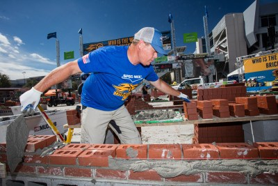 Brian Tuttle reaching for a Belden brick