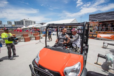 The Kubota RTV-X140 being discussed during the live broadcast of the 2021 SPEC MIX BRICKLAYER 500