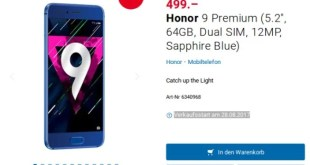Huawei Honor 9 Premium (6GB RAM + 128GB ROM) Price and Availability in Europe