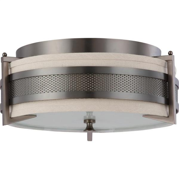 604436 in by Nuvo Lighting in New Milford  CT   3 Lights Medium     3 Lights Medium Flush Mount Ceiling Light in Hazel Bronze Finish with Khaki  Shade  Hidden