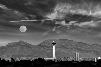Moonrise over the STRAT Hotel - Las Vegas, NV