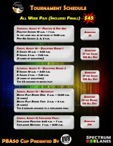 PBA50 Cup Schedule and Gate Fees