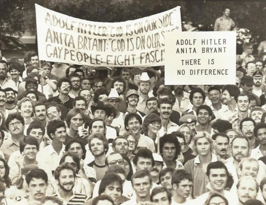 A photo of queer Houston participating in a Pride march against Anita Bryant.