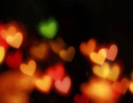 A photo of queer heart lights for the holidays.