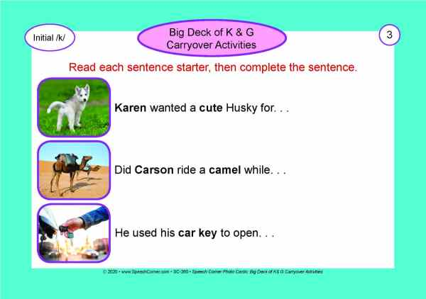 Speech Corner Photo Cards - Big Deck of K & G Carryover Activities-5942