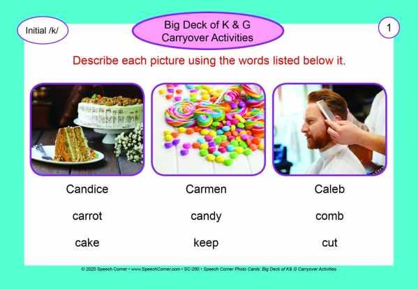 Speech Corner Photo Cards - Big Deck of K & G Carryover Activities-5941