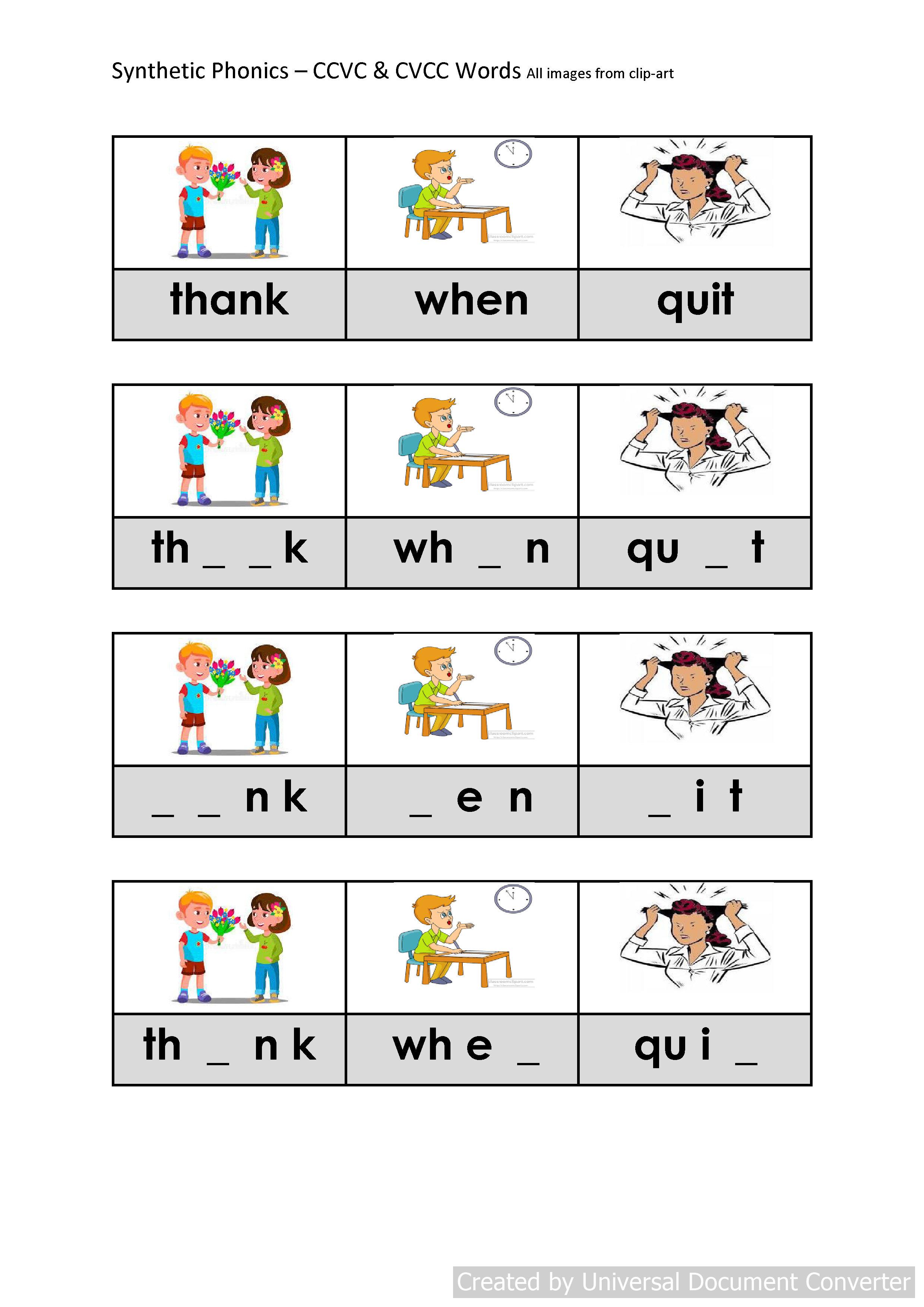 Phonics Activities Cccvc Words