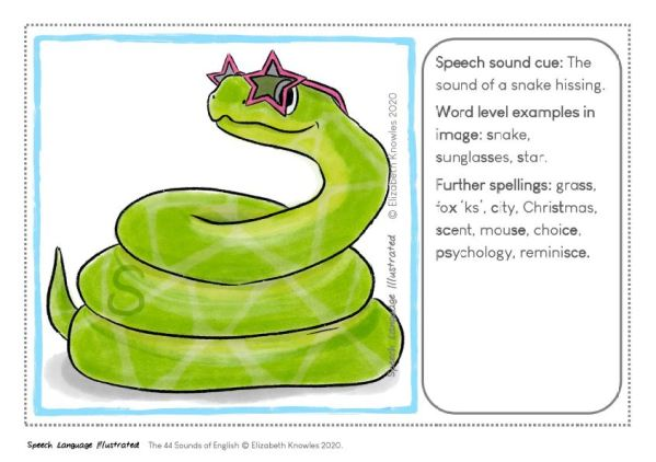 Snake speech sound cue for s