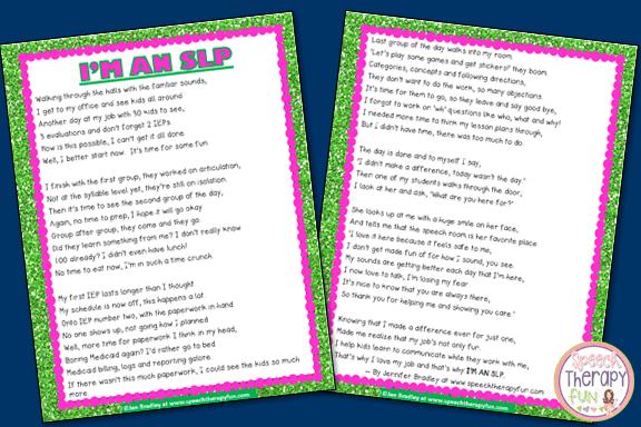 'I'M AN SLP' Poem