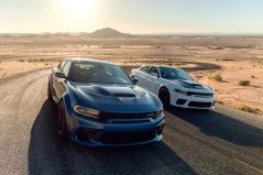 2020 Dodge Charger SRT Hellcat Widebody (Left) and 2020 Dodge Charger Scat Pack Widebody (Right)