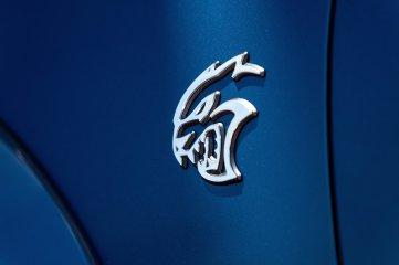 New Satin Chrome SRT Hellcat fender badge on the 2020 Dodge Charger SRT Hellcat Widebody