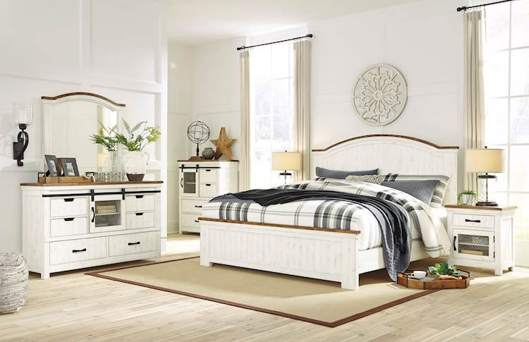 wystfield white brown bedroom set