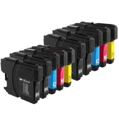 Brother LC101, LC103 10-Pack High Yield (4 BlK, 2-C, 2-M, 2-Y) $4.65ea