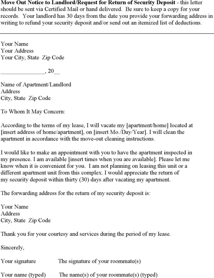 Letter to landlord to return security deposit textpoems 20 best of letter template security deposit refund pics complete altavistaventures Choice Image