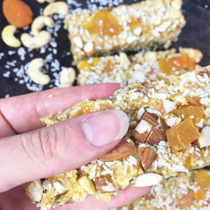Close up of coconut apricot bar