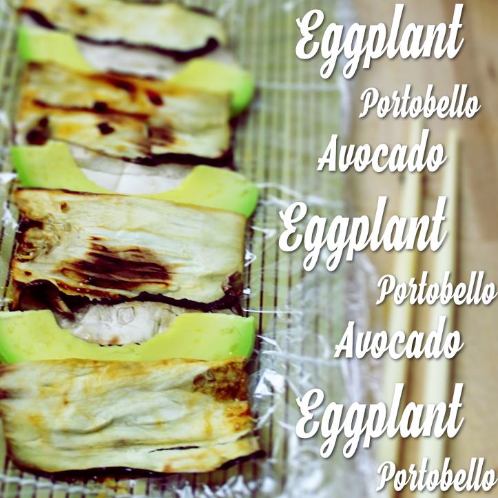 Layered eggplant avocado and portobello
