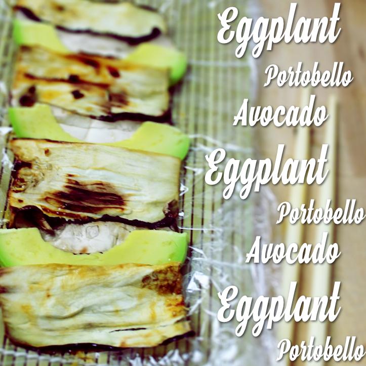Layered eggplant avocado and portobello