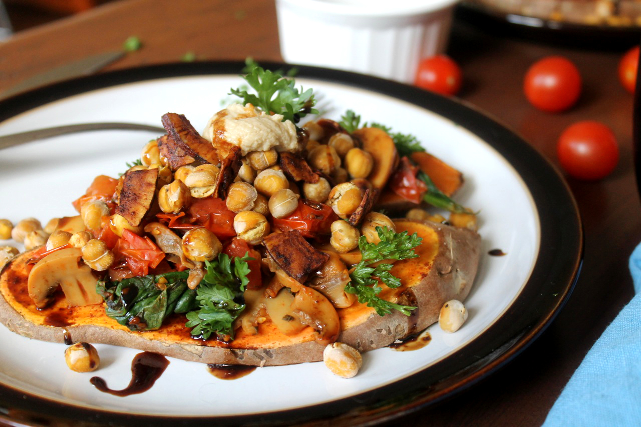 Carmalized sweet potato is the perfect vehicle for smoky toasted coconut and baked chickpeas. Finished with a drizzle of balsamic reductin, it's vegan brunch at it's best.