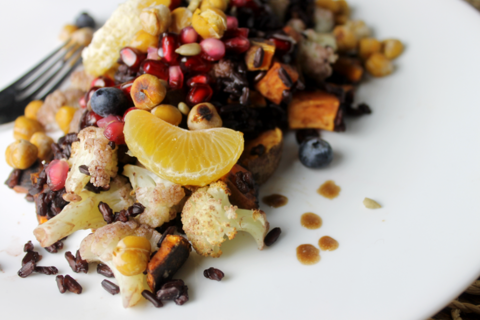 This dramatic holiday salad is sure to stand out! Black rice is the star of this vegan and gluten-free dinner salad!