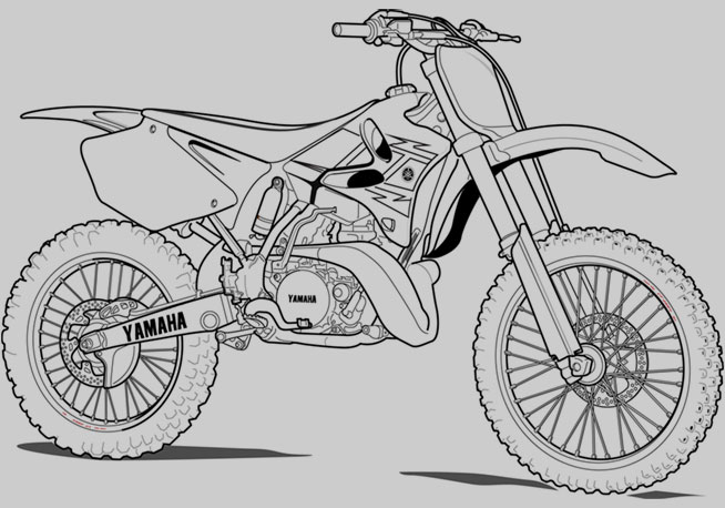yamaha dirt bike colouring pages