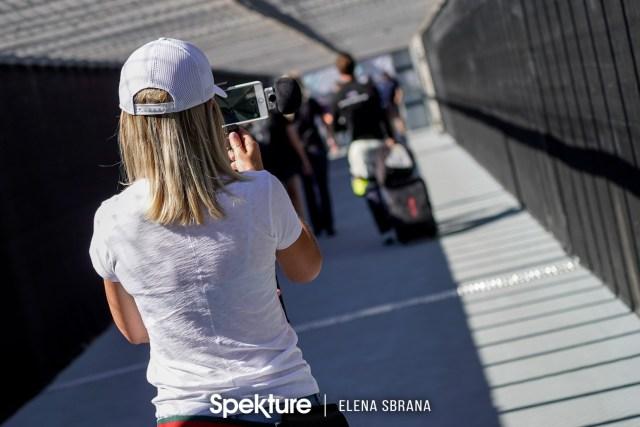 Earchphoto - Brooke De Boer, flmmaker and producer of FastlifeTV, follows her husband Derek to the autograph session at PIR.