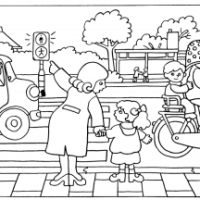 Veilig oversteken: Kleurplaat