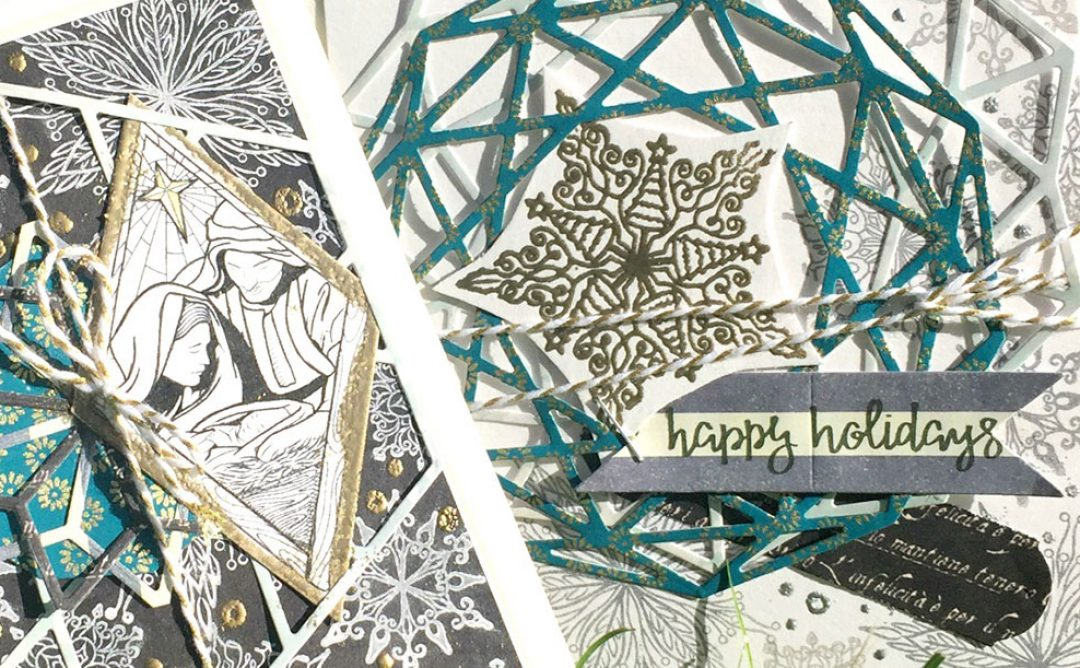 Layered and Stamped Geometric Christmas Cards