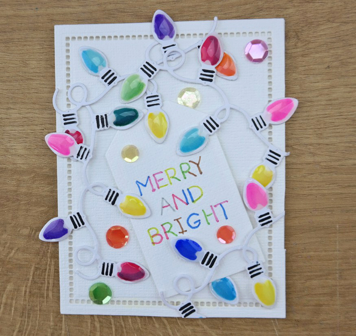 Quick and Easy Twinkle Lights Holiday Card Tutorial by Christina Griffiths Step 4