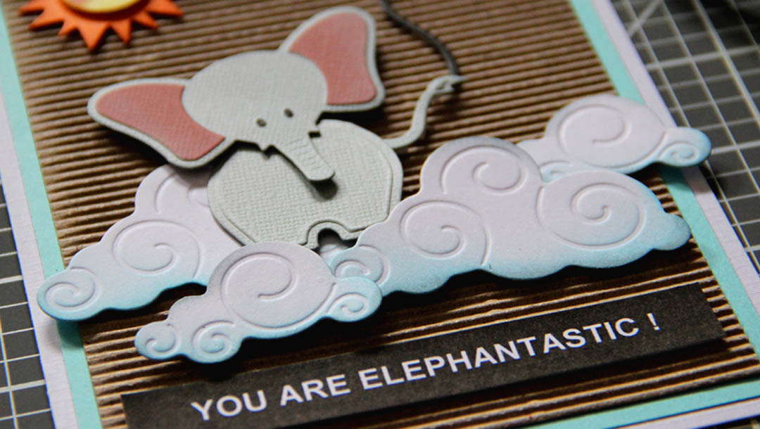 Cute layered Elephantastic card with My Little Red Wagon by Debi Adams and Die D-lites Spellbinders