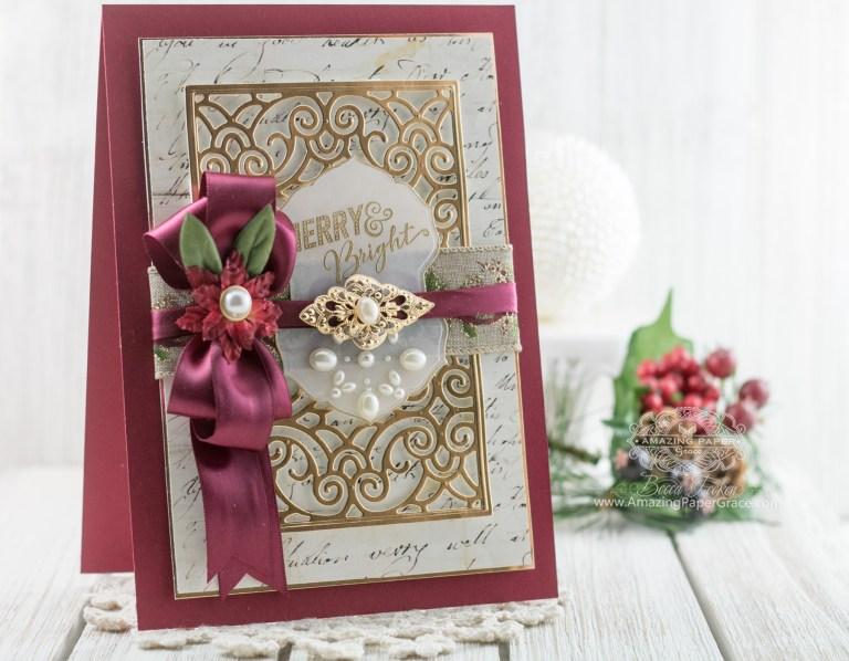 Becca Feeken of amazingpapergrace.com for Spellbinders - Repurposing The Filigree Booklet Die into a Card
