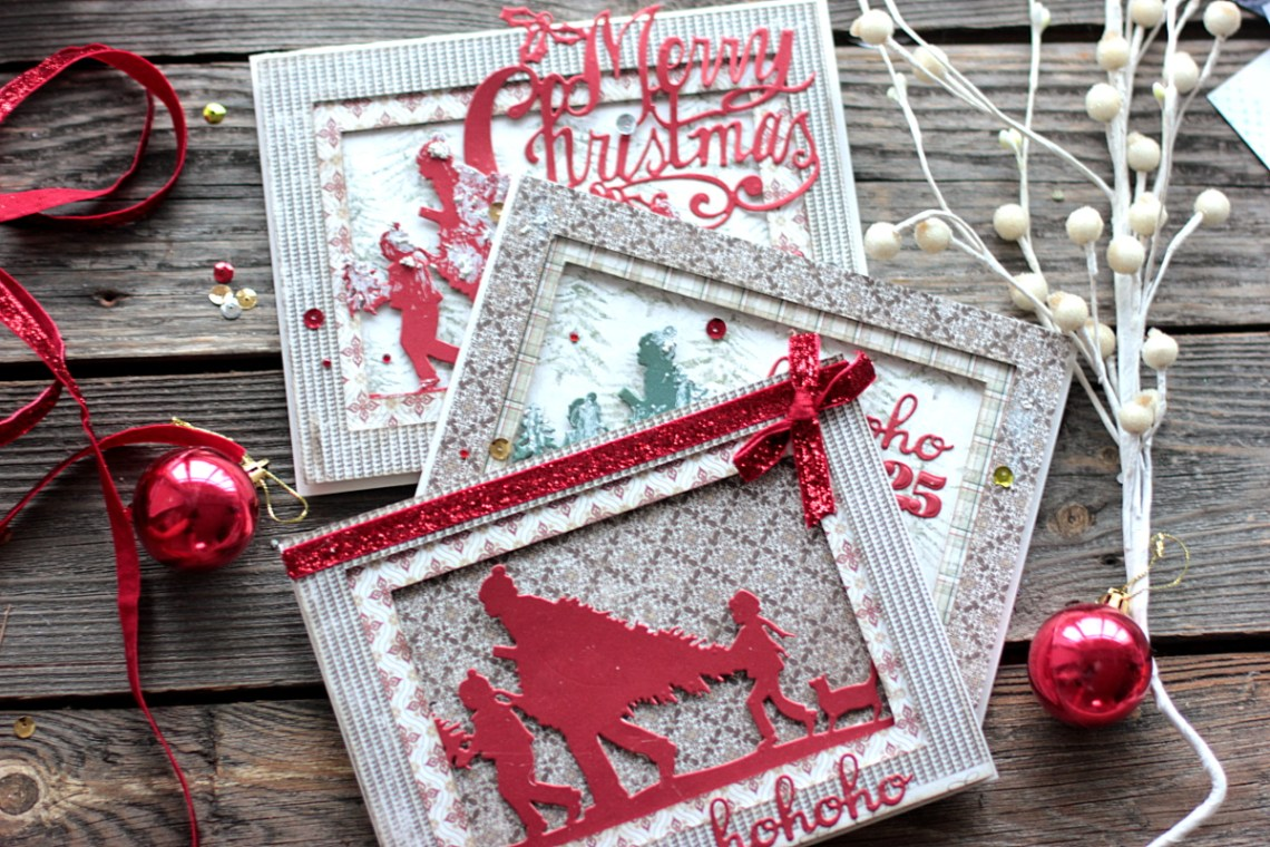 Holiday Tunnel Cards by Elena Olinevich for Spellbinders created using S4–774 Merry Christmas and S5-355 Tree Picking dies designer by Sharyn Sowell and S2-266 Ho Ho Ho dies #spellbinders #diecutting #christmascard