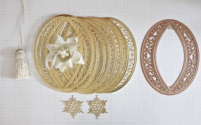 Becca Feeken Tutorial Diecut Ornaments using Bella Rose Lattice Ornament