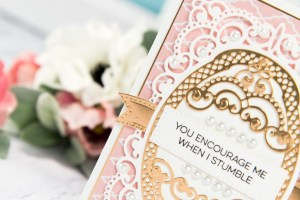 Cardmaking Inspiration | You Encourage Me When I Stumble Card by Yana Smakula for Spellbinders. Using: S4-820 Vintage Pierced Banners, S5-327 Anabelle's Trousseau Layering Frame Medium dies