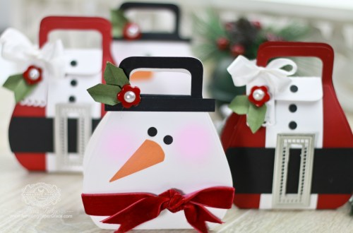 Adorable Holiday Character Gift Bags in under 10 Minutes by Becca Feeken for Spellbinders using S5-259 Favorably Simple Gift Box, S5-308 Hemstitch Rectangles and S3-250 Angled Flower - Fold and Go dies #spellbinders #diecutting #gifting #giftbag