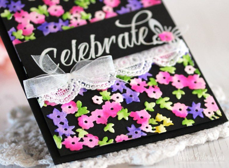 Four Seasons Spring Card by Laurie Schmidlin for Spellbinders using S4-840 Four Seasons Tree, S4-844 Winter Canopy and Elements dies #spellbinders #diecutting #cardmaking