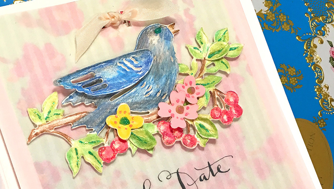 Save the Date by Sharyn Sowell for Spellbinders using S2-284 Corner Floral, S2-285 Bird on Cherry Branch, S4-846 Rose Bird Topiary, S4-850 Floral Photo Frame