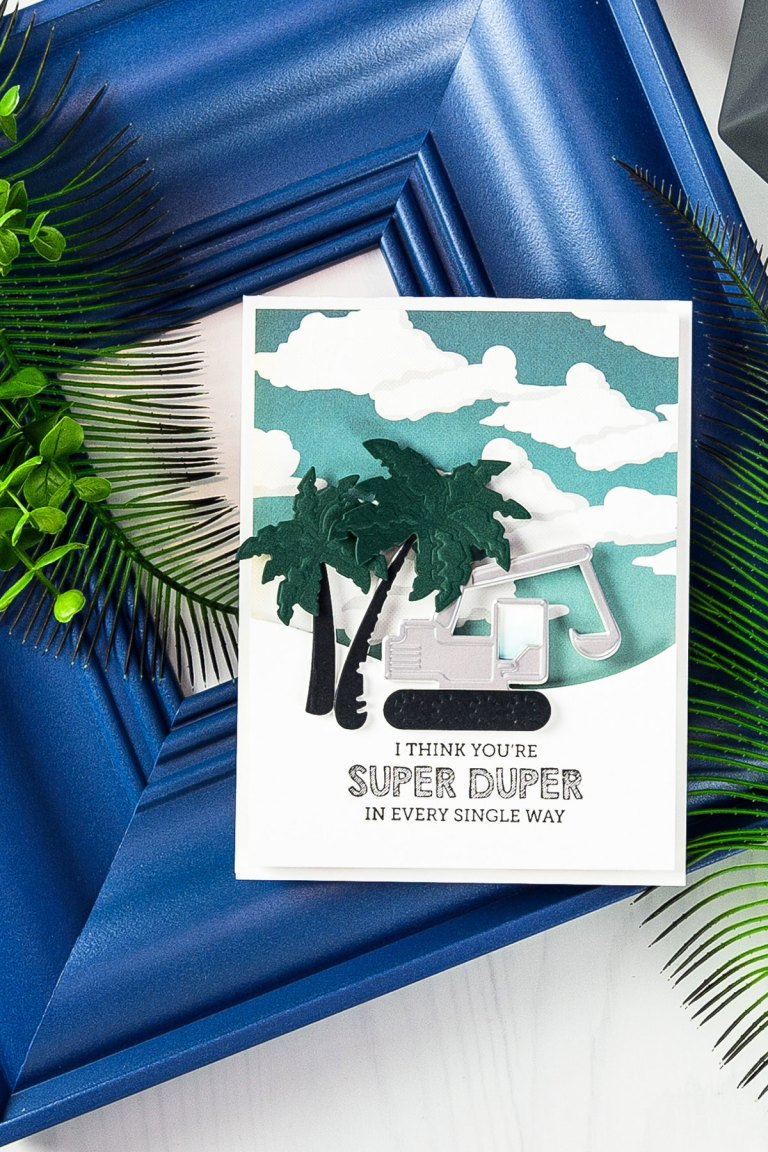 Cardmaking Inspiration | You Are Super Duper Card by Yana Smakula for Spellbinders using S3-295  Tractors S3-249 Palm Trees  S5-180 A2 Curved Borders One dies. #spellbinders #neverstopmaking #diecutting #handmadecard #tractorcard #masculinecard #punnycard