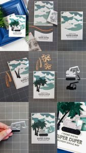 Cardmaking Inspiration   You Are Super Duper Card by Yana Smakula for Spellbinders using S3-295  Tractors S3-249 Palm Trees  S5-180 A2 Curved Borders One dies. #spellbinders #neverstopmaking #diecutting #handmadecard #tractorcard #masculinecard #punnycard