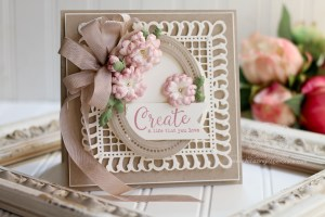 Let's Get Squared Up - From Rectangle to Square Card by Becca Feeken for Spellbinders usingS6-112 Graceful Frame Maker,S6-129 Bella Rose Lattice Layering Die,S5-332 Hemstitch Ovals, andS4-867 Cinch and Go Flowers III #spellbinders #diecutting